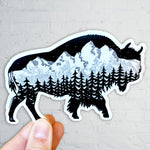 Buffalo, bison with the Grand Teton mountain range inside. Can you find the big dipper? Buffalo Silhouette, Sticker