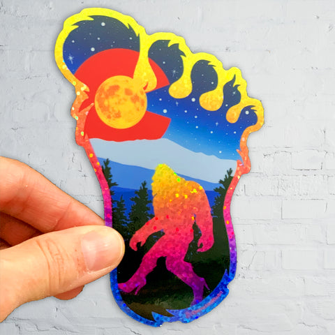 Colorado Flag BigFoot in Heels, Big Foot in Heels sticker, Big Foot in Heels slap, Colorado flag sticker, yeti sticker, Sasquatch sticker, Bigfoot sticker, big foot sticker, Bigfoot slap, big foot slap, yeti slap