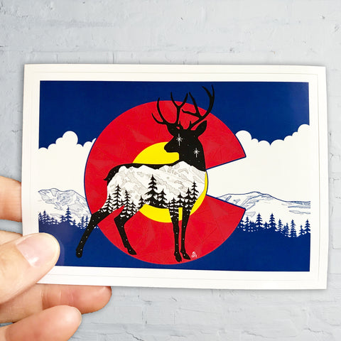 Artwork: Colorado Flag Deer with mountain range, colorado flag sticker, colorado flag slap