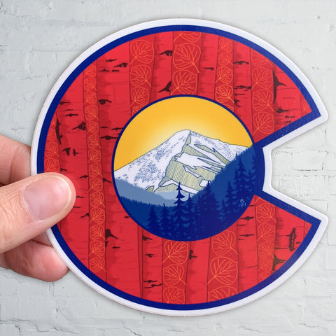 Colorado Flag C with Mount Eva and Aspen Trees