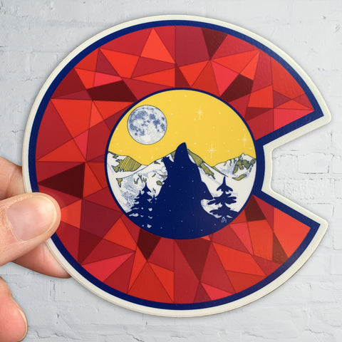 Colorado Flag C with Wolf Howling, Snowcapped mountains, Full Moon and Fractal C, colorado flag sticker, colorado flag slap