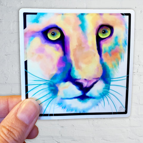 Watercolor Cougar (puma, wild cat, mountain lion) sticker
