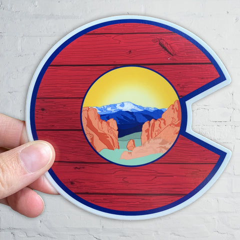 Colorado Flag C with Garden of the Gods and Wood Grain, pikes peak, colorado springs, colorado flag c, colorado flag sticker, colorado flag slap