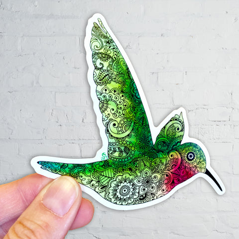 Hummingbird with Henna, Mandelbrot,  Paisley designs inside.  Sticker