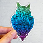 Owl with mandala, henna and paisley inside.  Can you find the hidden star?  Sticker
