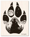 Maple Wood : Wolf artwork, full moon, howling at the moon, mountains, stars, evergreen trees, colorado artist, colorado art, colorado artwork, dotwork art, stipple art, wolf silhouette, wolf paw silhouette, wolf footprint silhouette, big dipper art, little dipper art