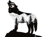 Artwork : Wolf howling with full moon and mountain range inside silhouette