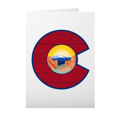 greeting card, Colorado Flag card, Colorado Flag thank you card, Colorado Flag greeting card, mountain greeting card, garden of the gods greeting card, pikes peak greeting card, thank you card, congratulations card, condolence card, birthday card, Colorado Flag art, Colorado Flag artwork, Colorado Flag design, Garden of the Gods, Pikes Peak, Colorado Springs