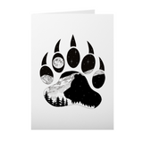 Bear artwork, bear paw, mountains, stars, evergreen trees, colorado artist, colorado art, colorado artwork, dotwork, bear silhouette, bear paw silhouette, bear paw greeting card, bear paw card