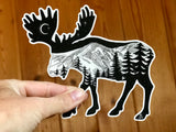 Moose with mountain range and crescent moon.  Sticker