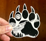 Bear Paw with bear, full moon and mountain range.  Sticker