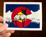 Colorado Flag Deer with mountain range, colorado flag sticker, colorado flag slap