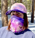 Adventure Awaits Face Mask (Double Layer) and Trucker Hat; mountains, ski resort, compass, Colorado sunrise , local outdoor