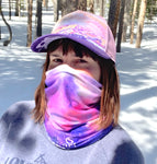 Adventure Awaits Face Mask (Double Layer) and Trucker Hat; mountains, ski resort, compass, Colorado sunrise, locale outdoor