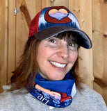 Colorado Love Face Mask (Double Layer Buff) and Trucker Hat; Colorado Flag, Colorado Art, Colorado Artwork, Wood grain C with Heart and mountains, locale outdoor