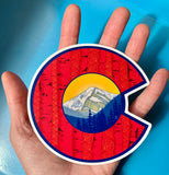 Colorado Flag C with Mount Eva and Aspen Trees, colorado flag sticker, colorado flag slap