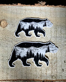 Bear sticker, mountains, stars, evergreen trees