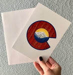 greeting card, Colorado Flag card, Colorado Flag thank you card, Colorado Flag greeting card, mountain greeting card, aspen trees greeting card, thank you card, congratulations card, condolence card, birthday card, Colorado Flag art, Colorado Flag artwork, Colorado Flag design