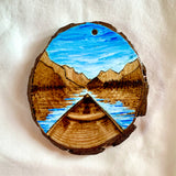 Kayaking Ornament, Kayaking Mountain Lake Ornament, Hand Painted Wood Ornament, Wood Burned Mountain Lake Ornament : handmade ornament, hand painted ornament, hand crafted ornament, pine disc ornament, wood burned ornament, pyrography Christmas ornaments, watercolor ornament, wood burned art, Christmas ornament, pyrography ornament, hand painted ornaments
