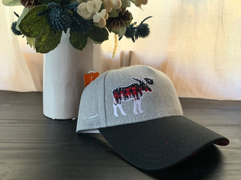 Gray and Black Embroidered Moose with Lake Dillon 10 Mile Mountain Range Baseball Hat