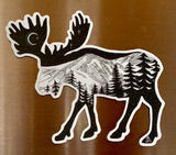 Magnet Moose : mountain, crescent moon, mountains, stars