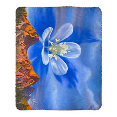 columbine, columbine flower, needle mountain range colorado, mountain range, colorado mountains, colorado sunrise, colorado artist, colorado art, colorado artwork, colorado blanket, colorado mountain blanket, colorado mountain fleece blanket, columbine fleece blanket, columbine blanket