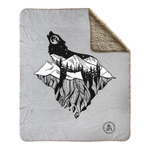 Mt. lEVAtation, wolf silhouette blanket, wolf howling at moon blanket, wolf on floating island blanket, full moon blanket, mountain blanket, floating island blanket, wolf silhouette blanket