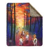 Native American Indian fleece sherpa blanket, Indian Paint Horse fleece sherpa blanket, Native American Indian blanket, Paint Horse blanket, indian art, indian artwork, native american indian artwork, paint horses, painted horses, hunting party, indians, sunrise, sunset, warparty, war party, chief, colorado artist, colorado art, colorado artwork