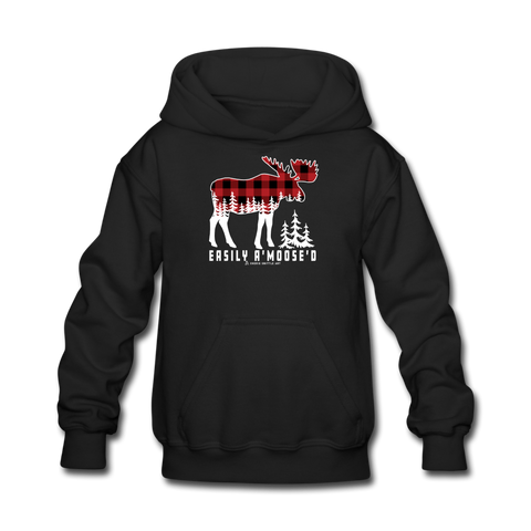 Youth Hoodie : Easily A'Moose'D - black