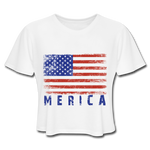 Women's Cropped T-Shirt : Merica Color - white; american flag, grunge american flag, merica flag, grunge merica flag, american flag art, american flag shirt, merica flag art, merica flag shirt, color american flag