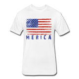 Fitted Cotton/Poly T-Shirt by Next Level : Merica - white; american flag, grunge american flag, merica flag, grunge merica flag, american flag art, american flag shirt, merica flag art, merica flag shirt, color american flag