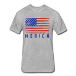 Fitted Cotton/Poly T-Shirt by Next Level : Merica - heather gray; american flag, grunge american flag, merica flag, grunge merica flag, american flag art, american flag shirt, merica flag art, merica flag shirt, color american flag