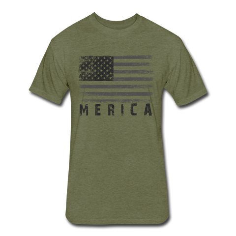 Fitted Cotton/Poly T-Shirt by Next Level : Merica Gray - heather military green; american flag, grunge american flag, merica flag, grunge merica flag, american flag art, american flag shirt, merica flag art, merica flag shirt, gray american flag