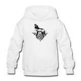 Youth Hoodie : Mt. LEVAtation - white; Mt. lEVAtation Night Wolf on floating island;  floating island hoodie,  floating island sweatshirt, wolf howling silhouette hoodie, wolf howling silhouette sweatshirt, hoodie with wolf howling on floating island, hoodie with wolf howling on floating island