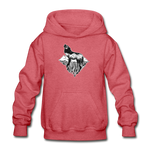 Youth Hoodie : Mt. LEVAtation - heather red; Mt. lEVAtation Night Wolf on floating island;  floating island hoodie,  floating island sweatshirt, wolf howling silhouette hoodie, wolf howling silhouette sweatshirt, hoodie with wolf howling on floating island, hoodie with wolf howling on floating island
