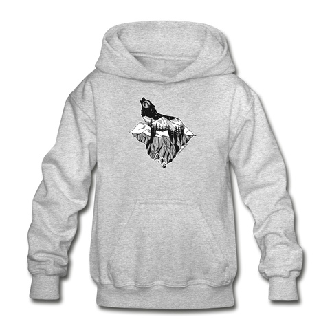 Youth Hoodie : Mt. LEVAtation - heather gray; Mt. lEVAtation Night Wolf on floating island;  floating island hoodie,  floating island sweatshirt, wolf howling silhouette hoodie, wolf howling silhouette sweatshirt, hoodie with wolf howling on floating island, hoodie with wolf howling on floating island