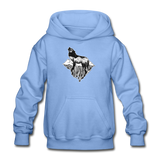 Youth Hoodie : Mt. LEVAtation - carolina blue; Mt. lEVAtation Night Wolf on floating island;  floating island hoodie,  floating island sweatshirt, wolf howling silhouette hoodie, wolf howling silhouette sweatshirt, hoodie with wolf howling on floating island, hoodie with wolf howling on floating island