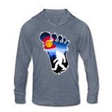 Unisex Tri-Blend Hoodie Shirt : Colorado Big Foot (Level X Hide N Seek Master) - heather blue; Colorado Flag with a colorful big foot (yeti) walking in the forest at night. The mountain range is Pikes Peak in Colorado Springs. bigfoot hoodie, yeti hoodie, blood moon colorado flag, bigfoot sweatshirt, bigfoot hoodie, Sasquatch long sleeve shirt with hoodie, BigFoot long sleeve shirt with hoodie, Yeti long sleeve shirt with hoodie
