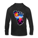 Unisex Tri-Blend Hoodie Shirt : Colorful Colorado Bigfoot (Level X Hide N Seek Master) - heather black; Colorado Flag with a colorful big foot (yeti) walking in the forest at night. The mountain range is Pikes Peak in Colorado Springs. bigfoot hoodie, yeti hoodie, blood moon colorado flag, bigfoot sweatshirt, bigfoot hoodie, Sasquatch long sleeve shirt with hoodie, BigFoot long sleeve shirt with hoodie, Yeti long sleeve shirt with hoodie