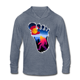 Unisex Tri-Blend Hoodie Shirt : Colorful Colorado Bigfoot (Level X Hide N Seek Master) - heather blue; Colorado Flag with a colorful big foot (yeti) walking in the forest at night. The mountain range is Pikes Peak in Colorado Springs. bigfoot hoodie, yeti hoodie, blood moon colorado flag, bigfoot sweatshirt, bigfoot hoodie, Sasquatch long sleeve shirt with hoodie, BigFoot long sleeve shirt with hoodie, Yeti long sleeve shirt with hoodie