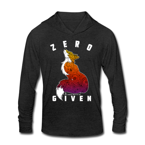 Unisex Tri-Blend Hoodie Shirt : Zero Fox Given - heather black; Fox with Henna and Paisley with some Mandelbrot mixed in. colorado artist, colorado art, colorado artwork, funny fox t-shirt, zero fox given t-shirt, fox silhouette t-shirt, paisley fox t-shirt, zero fox given sweatshirt, zero fox given hoodie, funny fox sweatshirt, funny fox hoodie, zero fox given long sleeve shirt with hoodie, fox long sleeve shirt with hoodie