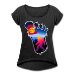 Women's Roll Cuff T-Shirt (50/50) : Colorful Colorado Bigfoot (Level X Hide N Seek Master) - heather black; Colorado Flag with a colorful big foot (yeti) walking in the forest at night. The mountain range is Pikes Peak in Colorado Springs. Colorado flag t-shirt, yeti t-shirt, big foot t-shirt, Bigfoot t-shirt, big foot shirt, yeti shirt, blood moon colorado flag