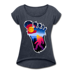 Women's Roll Cuff T-Shirt (50/50) : Colorful Colorado Bigfoot (Level X Hide N Seek Master) - navy heather; Colorado Flag with a colorful big foot (yeti) walking in the forest at night. The mountain range is Pikes Peak in Colorado Springs. Colorado flag t-shirt, yeti t-shirt, big foot t-shirt, Bigfoot t-shirt, big foot shirt, yeti shirt, blood moon colorado flag