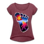 Women's Roll Cuff T-Shirt (50/50) : Colorful Colorado Bigfoot (Level X Hide N Seek Master) - heather burgundy; Colorado Flag with a colorful big foot (yeti) walking in the forest at night. The mountain range is Pikes Peak in Colorado Springs. Colorado flag t-shirt, yeti t-shirt, big foot t-shirt, Bigfoot t-shirt, big foot shirt, yeti shirt, blood moon colorado flag