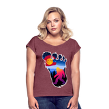 Colorado Flag with a colorful big foot (yeti) walking in the forest at night. The mountain range is Pikes Peak in Colorado Springs. Colorado flag t-shirt, yeti t-shirt, big foot t-shirt, Bigfoot t-shirt, big foot shirt, yeti shirt, blood moon colorado flag