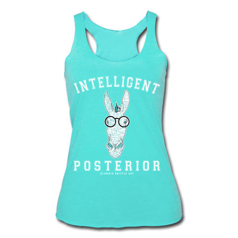 Women's Tri-Blend Racerback Tank : Intelligent Posterior - turquoise; donkey shirt, burro shirt, smart ass shirt, funny quote shirt, funny donkey shirt, funny burro shirt, funny math shirt, math equation shirt, math formula shirt