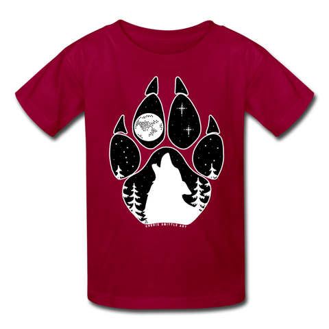 Youth T-Shirt : Wolf Paw - dark red; wolf paw shirt, wolf paw t-shirt, wolf howling at the moon shirt, wolf howling at the moon t-shirt, constellation shirt, constellation t-shirt