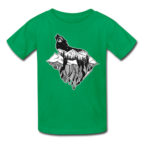 Youth T-Shirt : Mt. LEVAtation - kelly green; Mt. lEVAtation Night Wolf on floating island; floating island t-shirt, floating island shirt, wolf howling silhouette t-shirt, wolf howling silhouette shirt, t-shirt with wolf howling on floating island, shirt with wolf howling on floating island
