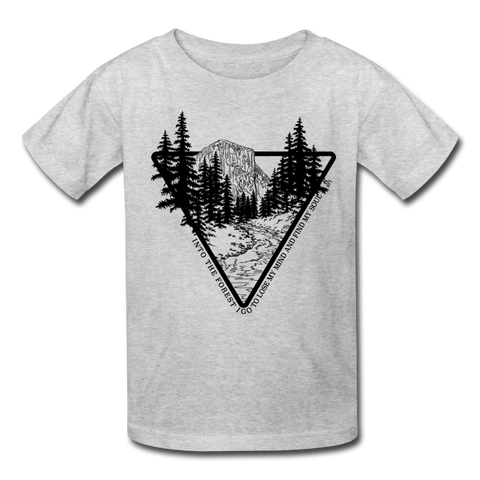 Youth T-Shirt : Yosemite Line Art & John Muir Forest Quote - heather gray Yosemite t-shirt, John Muir forest quote shirt, Yosemite t-shirt, Yosemite shirt, el capitan tshirt, el capitan shirt