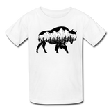 Youth T-Shirt : Teton Buffalo - white; Buffalo t-shirt, buffalo shirt, bison shirt, bison t-shirt, Buffalo Silhouette shirt, buffalo silhouette t-shirt, grand teton shirt, grand teton t-shirt, constellation shirt, constellation t-shirt, mountain shirt, mountain t-shirt